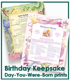 Birthday Keepsake Day You Were Born Prints